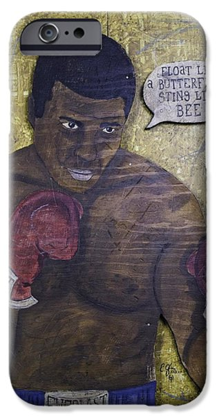 Negro Paintings iPhone Cases - Cassius Clay - Muhammad Ali iPhone Case by Eric Cunningham