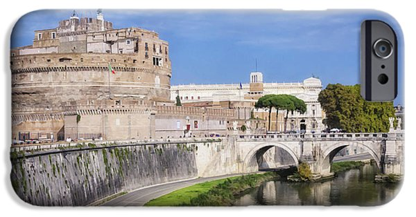 Angel Blues iPhone Cases - Castel Sant Angelo iPhone Case by Joan Carroll