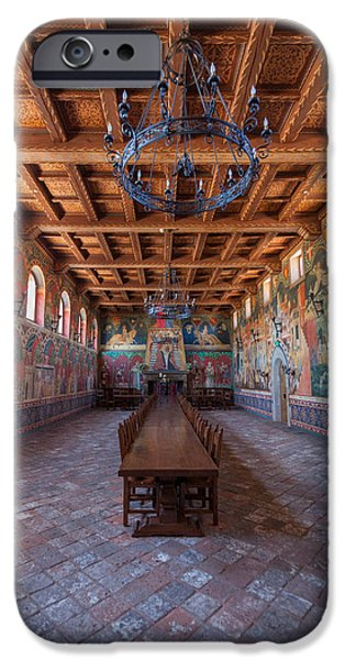 Wine Vault iPhone Cases - Castelle Di Amorosa Dining Hall iPhone Case by Scott Campbell