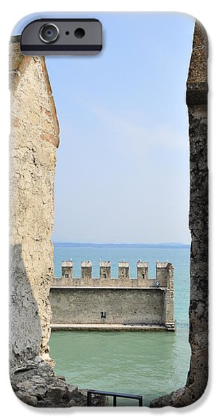 Turquois Water iPhone Cases - Castello Scaligero Castle Sirmione Italy iPhone Case by Matthias Hauser