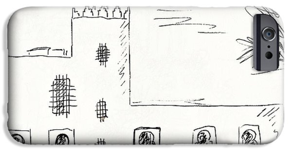 Sand Castles Drawings iPhone Cases - Castillo Bil Bil in Benalmadena  iPhone Case by Chani Demuijlder