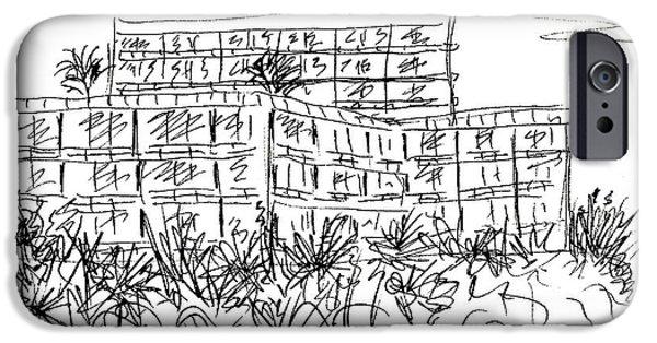 Sand Castles Drawings iPhone Cases - Castillo de Santa Clara in Torremolinos iPhone Case by Chani Demuijlder