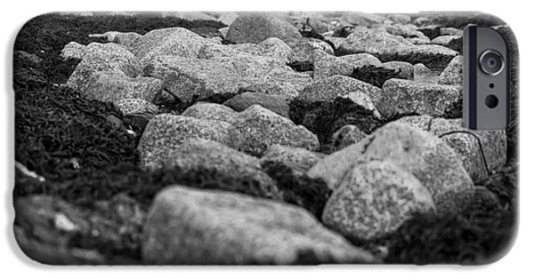 Abstract Seascape Photographs iPhone Cases - Castle Beach Rocks iPhone Case by Brian Roscorla