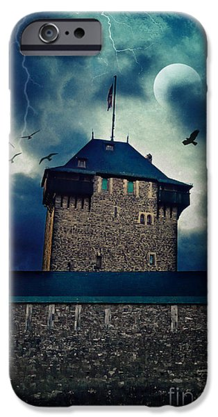 Eerie Mixed Media iPhone Cases - Castle Burg iPhone Case by Angela Doelling AD DESIGN Photo and PhotoArt