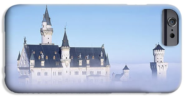 Built Structure iPhone Cases - Castle Covered With Fog, Neuschwanstein iPhone Case by Panoramic Images