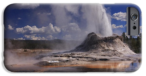 Basin iPhone Cases - Castle Geyser iPhone Case by Mark Kiver