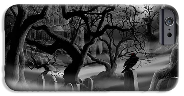 Headstones Paintings iPhone Cases - Castle Graveyard iPhone Case by James Christopher Hill