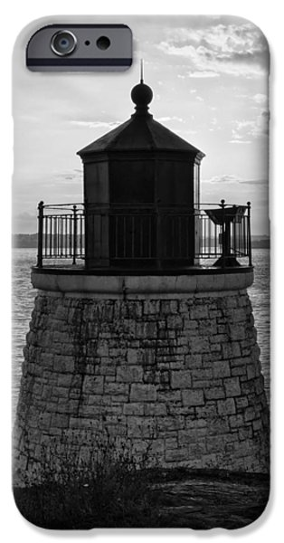 New England Lighthouse iPhone Cases - Castle Hill BW 2 iPhone Case by Marianne Campolongo
