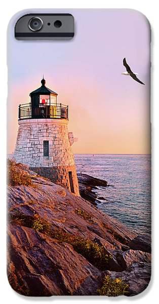 New England Lighthouse iPhone Cases - Castle Hill Lighthouse 2 Newport iPhone Case by Marianne Campolongo