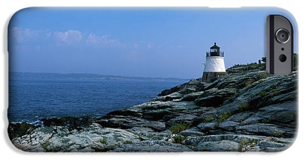 New England Lighthouse iPhone Cases - Castle Hill Lighthouse At The Seaside iPhone Case by Panoramic Images