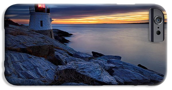 New England Lighthouse iPhone Cases - Castle Hill Lighthouse Sunset iPhone Case by Katherine Gendreau