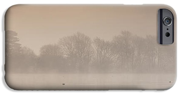 Swans... iPhone Cases - Castle Howard Pastel Dawn Panorama iPhone Case by John Potter