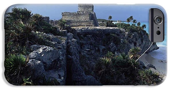 Coastal Places iPhone Cases - Castle On A Cliff, El Castillo, Tulum iPhone Case by Panoramic Images