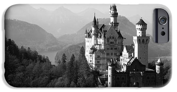 Built Structure iPhone Cases - Castle On A Hill, Neuschwanstein iPhone Case by Panoramic Images