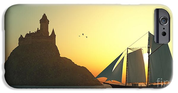 Windjammer iPhone Cases - Castle on the Sea iPhone Case by Corey Ford