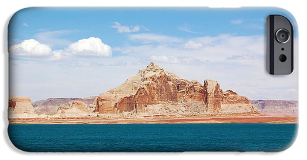 Sand Castles iPhone Cases - Castle Rock at Lake Powell iPhone Case by Debra Thompson