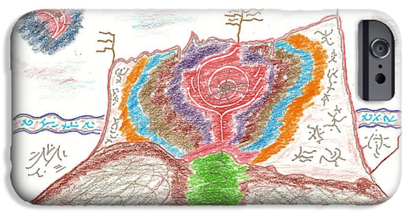 Red Rock Drawings iPhone Cases - Castle Rose iPhone Case by Mark David Gerson