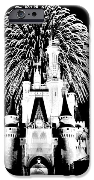 Magic Kingdom iPhone Cases - Castle Show Black and White iPhone Case by Benjamin Yeager