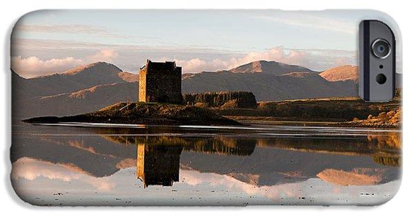 Highlands Digital iPhone Cases - Castle Stalker - Sunset iPhone Case by Pat Speirs