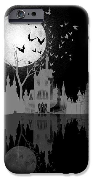Scary Digital Art iPhone Cases - Castle under moon iPhone Case by Neelanjana  Bandyopadhyay