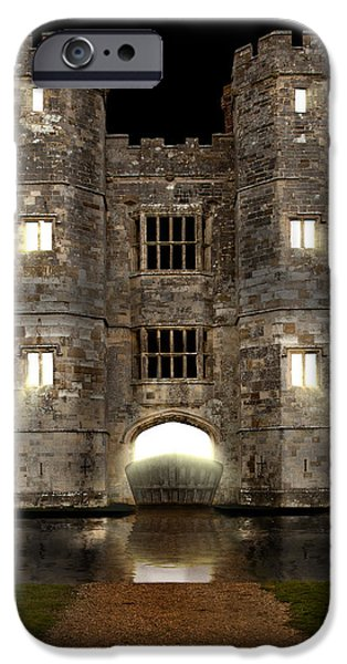 Creepy iPhone Cases - Castle with moat and opening drawbridge iPhone Case by Simon Bratt Photography LRPS
