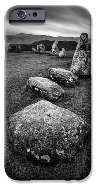 Ruins iPhone Cases - Castlerigg Stone Circle iPhone Case by Dave Bowman