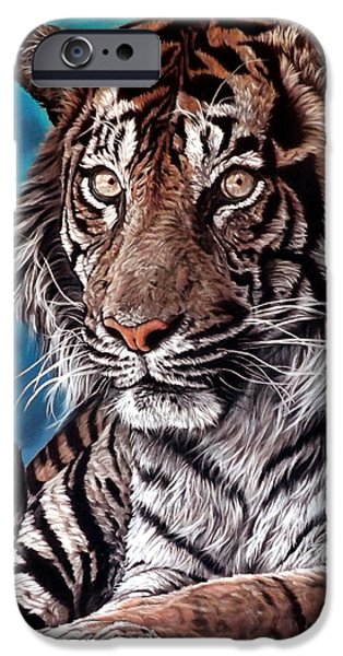 Wild Animals Pastels iPhone Cases - Castro iPhone Case by Linda Becker