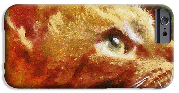 Young Paintings iPhone Cases - Cat 11 iPhone Case by Victor Gladkiy