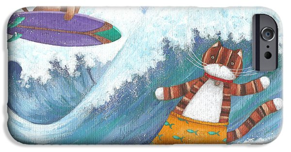 Marine iPhone Cases - Cat And Dog Surfing iPhone Case by Peter Adderley