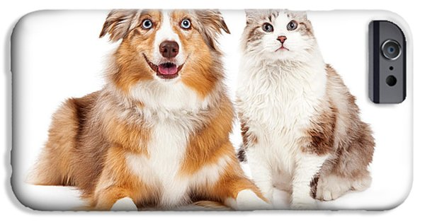 Purebred iPhone Cases - Cat and Happy Dog Together iPhone Case by Susan  Schmitz