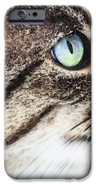 White Cat Art iPhone Cases - Cat Art - Looking For You iPhone Case by Sharon Cummings