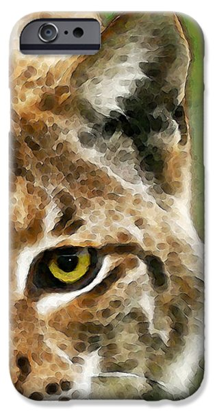 Wild Animals iPhone Cases - Cat Art - Lynx 2 iPhone Case by Sharon Cummings