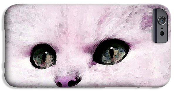 White Cat Art iPhone Cases - Cat Art - My Eyes Adore You iPhone Case by Sharon Cummings