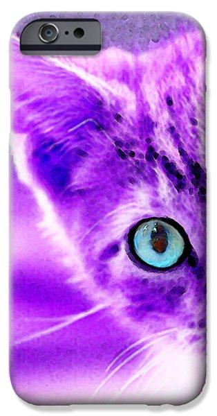 Cats Digital iPhone Cases - Cat Art - Peek A Boo Blue iPhone Case by Sharon Cummings