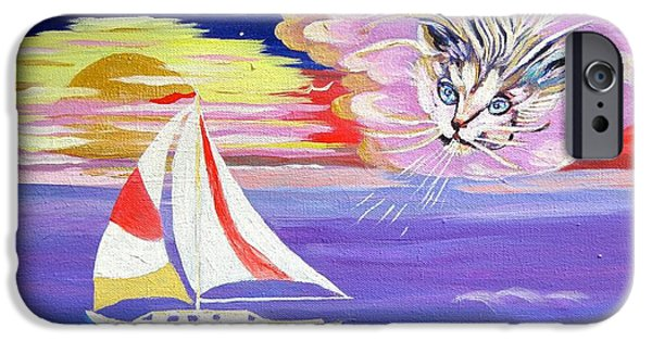 Sailboats iPhone Cases - Cat Boat iPhone Case by Phyllis Kaltenbach