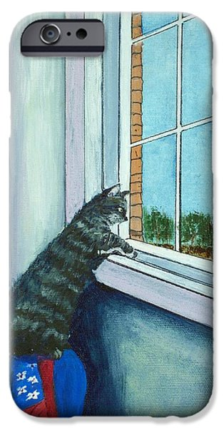 House iPhone Cases - Cat By The Window iPhone Case by Anastasiya Malakhova