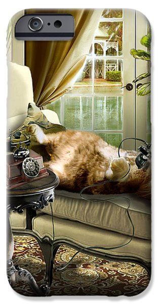 Interior Scene iPhone Cases - Funny pet talking on the phone  iPhone Case by Gina Femrite