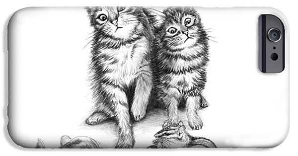 Chip Drawings iPhone Cases - Cat Chips  iPhone Case by Peter Piatt
