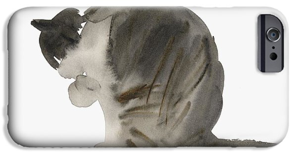Cat Prints iPhone Cases - Cat iPhone Case by Claudia Hutchins-Puechavy