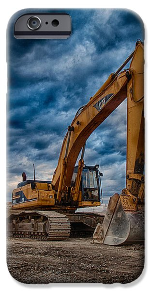 Construction Equipment iPhone Cases - Cat Excavator iPhone Case by Mike Burgquist