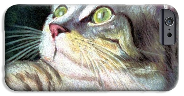 Stripes Pastels iPhone Cases - Cat Friendly iPhone Case by JAXINE Cummins