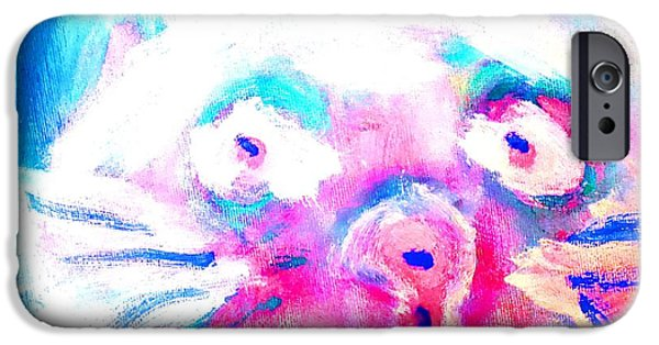 Response Paintings iPhone Cases - Cat in blue iPhone Case by Hilde Widerberg