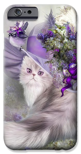 Hat Art iPhone Cases - Cat In Easter Lilac Hat iPhone Case by Carol Cavalaris