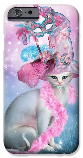 White Cat Art iPhone Cases - Cat In Fancy Witch Hat 4 iPhone Case by Carol Cavalaris