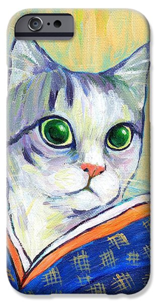 cat in kimono of Ukiyoe style iPhone Case by Jingfen Hwu