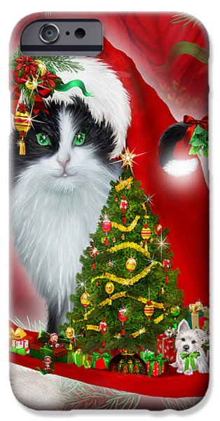 Tree Art Print Mixed Media iPhone Cases - Cat In Long Santa Hat iPhone Case by Carol Cavalaris