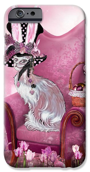 Mad Hatter iPhone Cases - Cat In Mad Hatter Hat iPhone Case by Carol Cavalaris