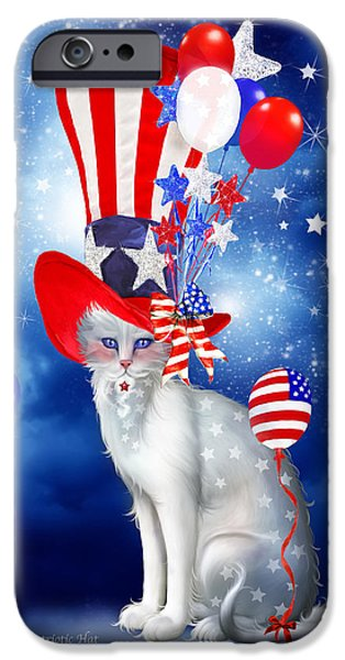 Independence Day Mixed Media iPhone Cases - Cat In Patriotic Hat iPhone Case by Carol Cavalaris