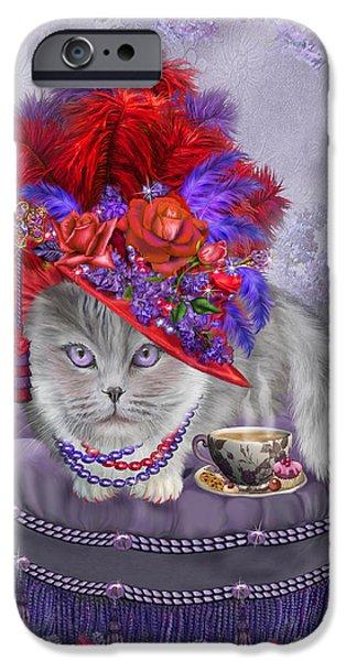 Hat Art iPhone Cases - Cat In The Red Hat iPhone Case by Carol Cavalaris