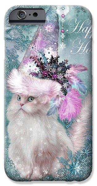 Hat Art iPhone Cases - Cat In The Snowflake Santa Hat iPhone Case by Carol Cavalaris